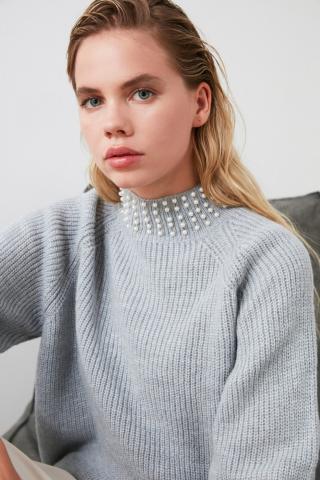 Trendyol Blue Upright Collar Pearl Detailed Knitwear Sweater dámské Navy L