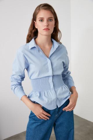 Trendyol Blue Waist Gathered Shirt dámské Navy 34