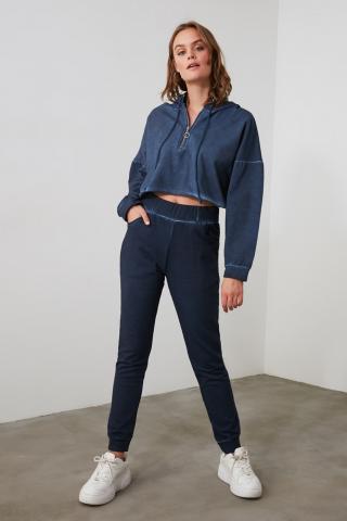 Trendyol Blue Wash Basic Knitted Tracksuit bottom dámské Navy XS