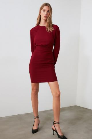 Trendyol Bordeaux Basic Dress dámské Burgundy 34