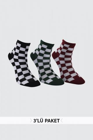 Trendyol Bordeaux Checkered 3 Pack Knitted Socks dámské Burgundy One size