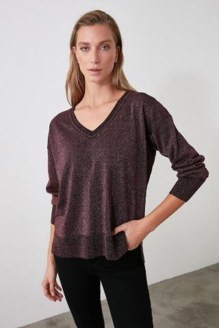 Trendyol Bordeaux Lurexli V Collar Knitwear Sweater dámské Burgundy S