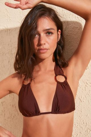 Trendyol Brown Accessory Detailed Bikini Top dámské 34