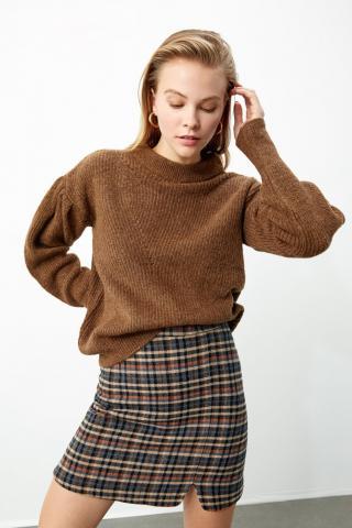 Trendyol Brown Balloon Coke Knit Sweater dámské M