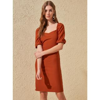 Trendyol Brown Balloon Sleeve Dress dámské cihlová XL
