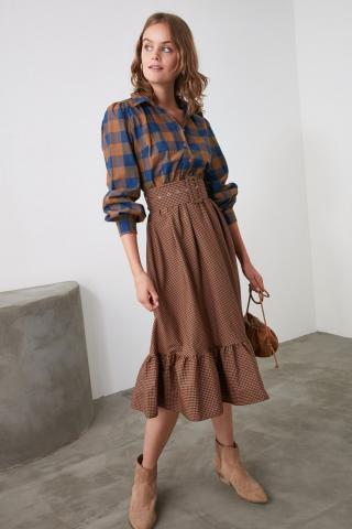 Trendyol Brown Belt Dress dámské 42