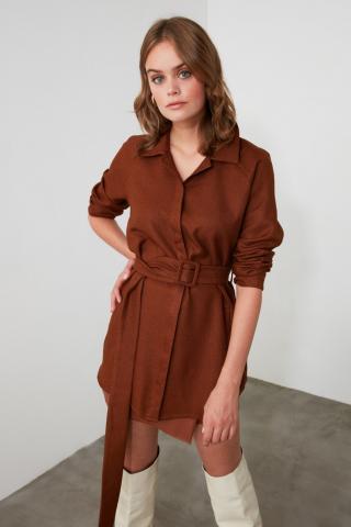 Trendyol Brown BeltEd Shirt dámské 34