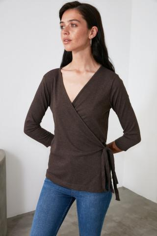 Trendyol Brown Binding Detailed Knitted Blouse dámské XS