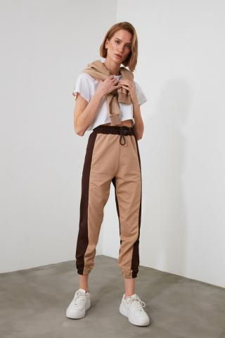 Trendyol Brown Color Block Basic Jogger Knitted Tracksuit bottom dámské XS