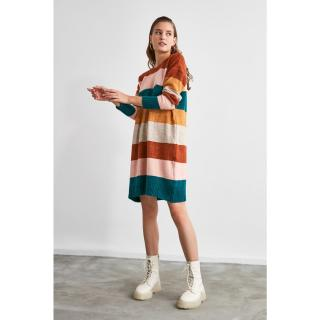 Trendyol Brown Color Block Knitwear Dress dámské S