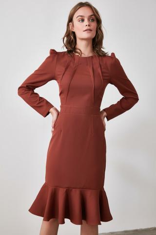 Trendyol Brown Flywheel Dress dámské 34
