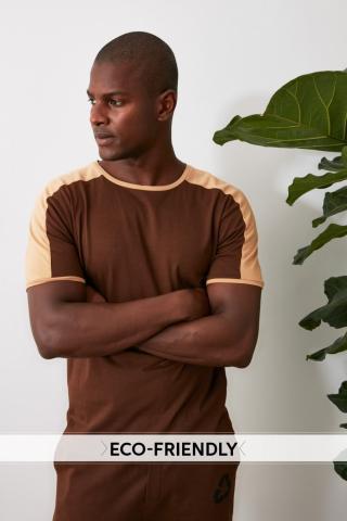 Trendyol Brown Male 100% Organic Cotton Slim Fit T-Shirt S