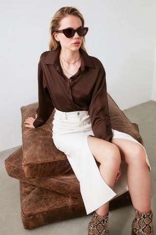 Trendyol Brown Oversize Shirt dámské 34