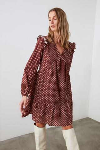 Trendyol Brown Score-Ty Dress dámské 34