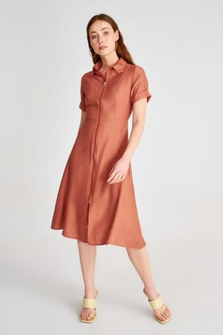 Trendyol Brown Shirt Dress dámské 34