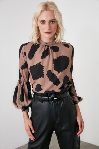 Trendyol Brown Sleeve Detailed Blouse dámské 34