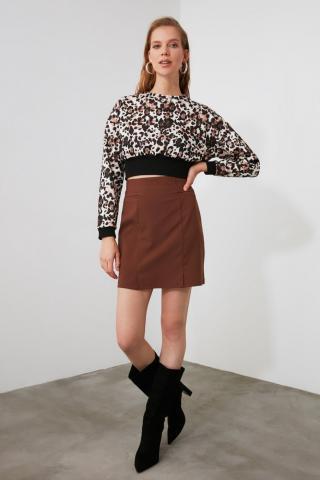 Trendyol Brown Straight Cut Skirt dámské 34