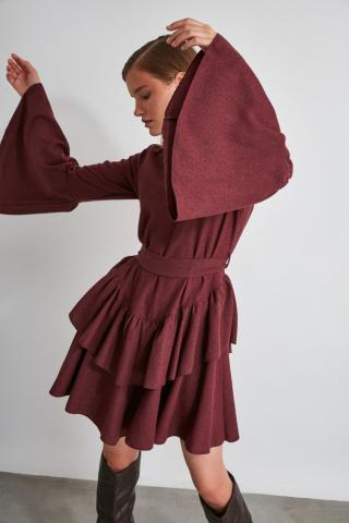 Trendyol Burgundy Belt Dress dámské 34