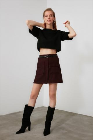 Trendyol Burgundy Belt Pocket Detailed Skirt dámské 34