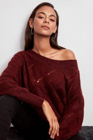 Trendyol Burgundy Boat Collar Knitted Detailed Knitwear Sweater dámské M