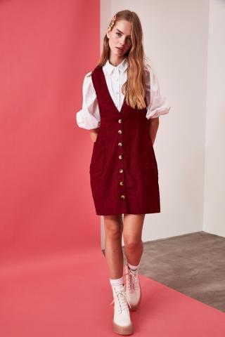 Trendyol Burgundy ButtonEd Jile Dress dámské 34