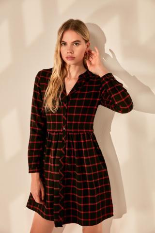 Trendyol Burgundy Checkered Dress dámské 36