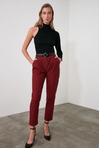 Trendyol Burgundy Checkered Trousers dámské 34