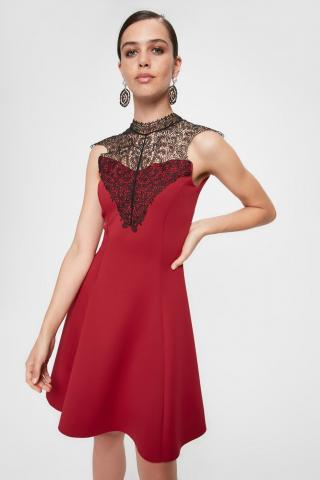 Trendyol Burgundy Collar Lace Dress dámské 34