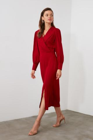 Trendyol Burgundy Cruiseneck Dress dámské 34