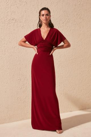 Trendyol Burgundy Drape Detailed Evening Dress & Graduation Dress dámské 34