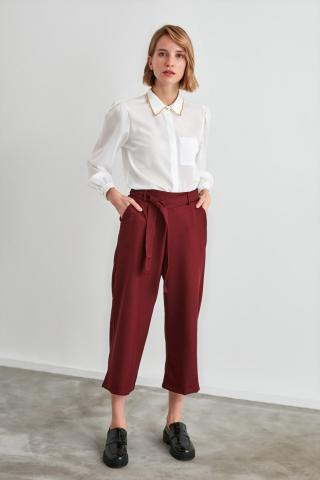 Trendyol Burgundy Fastening Detailed Trousers dámské 34