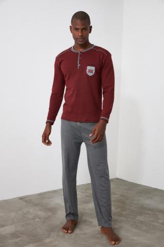 Trendyol Burgundy Knitted Pajama Set pánské L