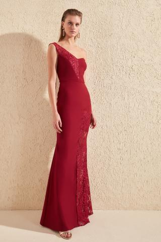 Trendyol Burgundy Lace Detailed Evening Dress & Graduation Dress dámské 34