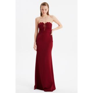 Trendyol Burgundy Lace Detailed Evening Dress & Graduation Gown dámské Maroon 34