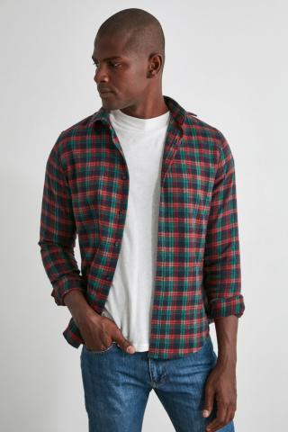 Trendyol Burgundy Mens Plaid Slim Fit Shirt pánské S