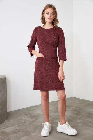 Trendyol Burgundy Pocket Detailed Dress dámské 34