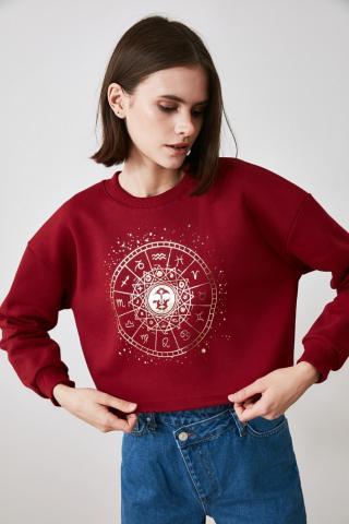 Trendyol Burgundy Printed Crop Knitted Sweatshirt dámské XS