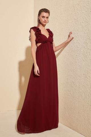 Trendyol Burgundy Shoulder Detailed Evening Dress & Graduation Dress dámské 34