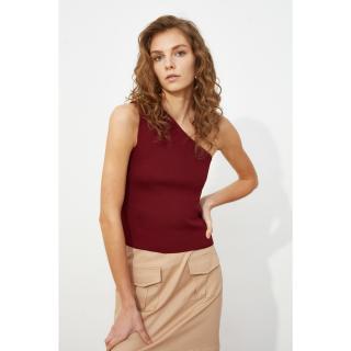 Trendyol Burgundy Single Shoulder Strap Knitwear Blouse dámské S