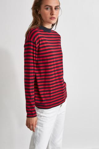 Trendyol Burgundy Striped Sheer Collar Knitted T-Shirt dámské XS