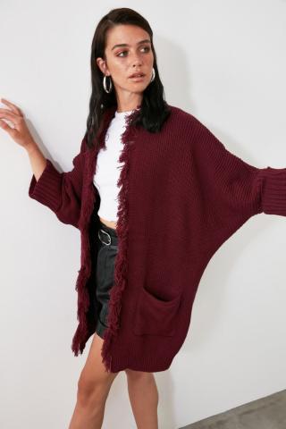 Trendyol Burgundy Tassel Detailed Knitwear Cardigan dámské S
