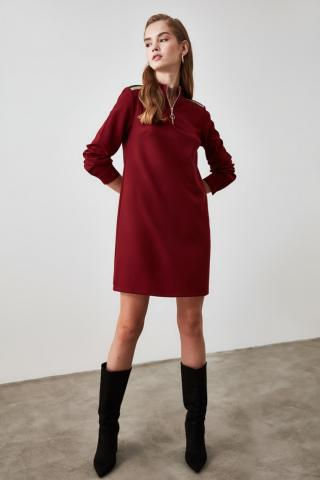 Trendyol Burgundy Zipper Detailed Dress dámské 34