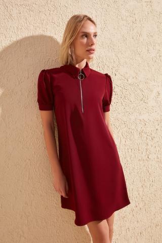 Trendyol Burgundy Zipper Dress dámské 34