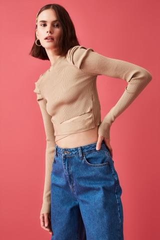 Trendyol Camel Arm Smuze Waist Detailed Knitwear Sweater dámské S