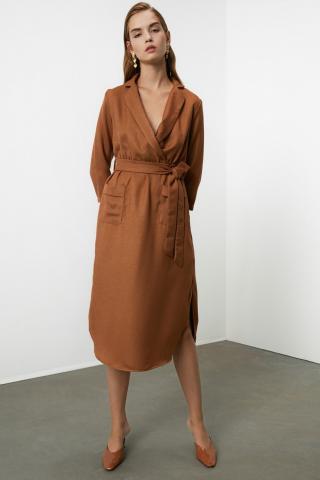 Trendyol Camel BeltEd Cruise Collar Dress dámské 34