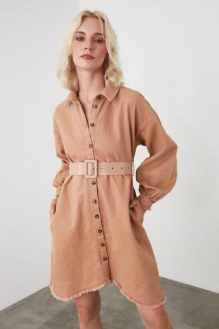 Trendyol Camel Belted Shirt Dress dámské 34