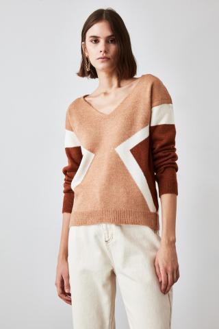 Trendyol Camel Color Block Knitwear Sweater dámské L