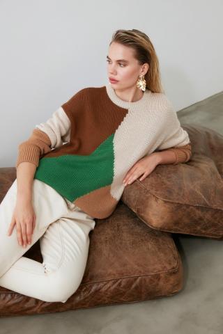 Trendyol Camel Color Block KnitWear Sweater dámské S