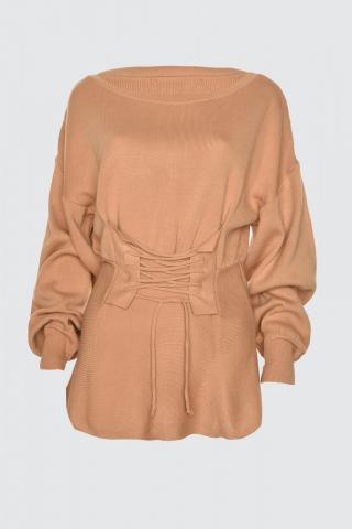 Trendyol Camel Corset Detailed Knitwear Sweater dámské S