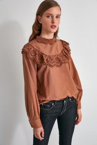 Trendyol Camel Embroidered Blouse dámské 34
